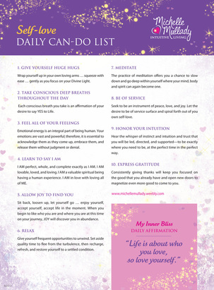 Self-Love Daily Can Do List
